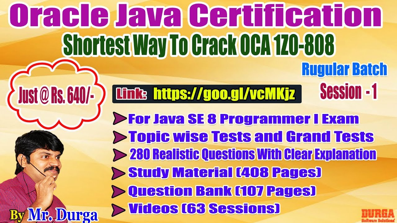 Ocja 18 Java Se 8 Programmer I 1z0 808 By Durga Sir Demo On