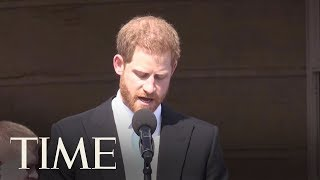 Prince Harry Gives A Touching Speech At His Dad's 70th Birthday Garden Party | TIME