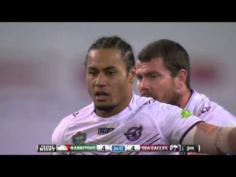 Steve Matai sends Dave Tyrell flying with a HUGE hit!