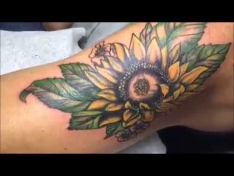 26a814fbe Sun flower cover up arm tattoo - YouTube