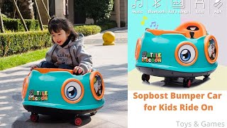 Sopbost Bumper Car for Kids Ride On Car with Remote Control 6v Electric Ride