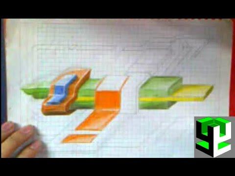 Dibujando graffiti 3d abstracto en papel drawing 3d - Graffitis en papel ...