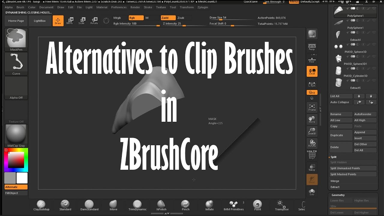 Alternatives to the clip brushes in ZbrushCore