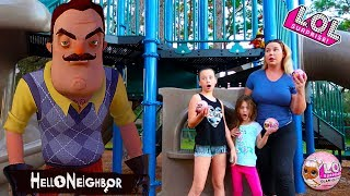 Hello Neighbor In Real Life LOL Surprise Glam Glitter Scavenger Hunt At The Playground Pretend Play