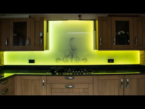 kitchen led lighting drop leaf table and chairs swirls glass splashback - youtube