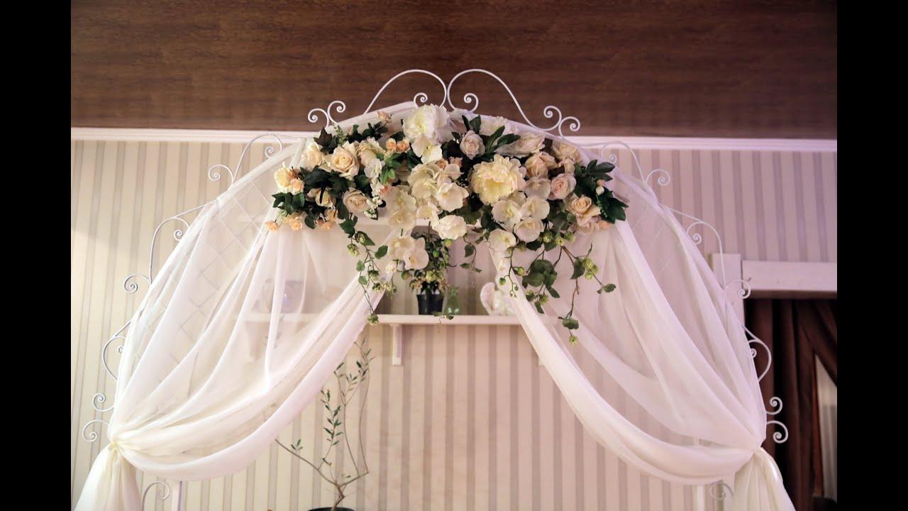 Как крепить ткань на свадебную арку