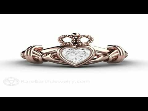14K Rose Gold Wedding Ring Plain Gold Celtic Love Knot Promise Ring