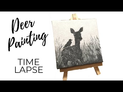 Deer Acrylic Painting Demo on Mini Canvas (Misty Painting)