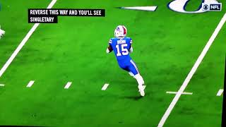 John Brown #15 28yd td pass to Dennis Singletary #26 Bills/Cowboys