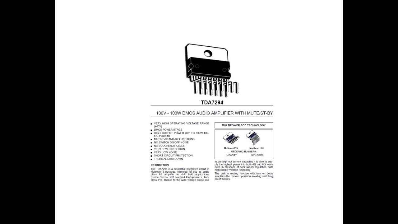 Tda7294 100 Watt Audio Amplifier Ic Youtube Functions Of Integrated Circuit