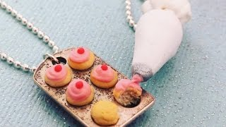 Best friends necklaces tutorial - Polymer clay miniature food - Cupcake and pipping bag tutorial