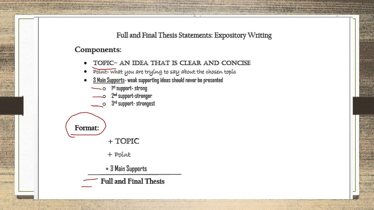 thesis statement expository writing This resource provides tips for creating a thesis statement and examples of purdue owl writing lab owl example of an expository (explanatory) thesis statement.