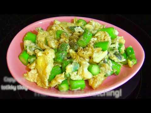 หน่อไม้ฝรั่งผัดไข่สูตรอาหารทำง่ายมาก