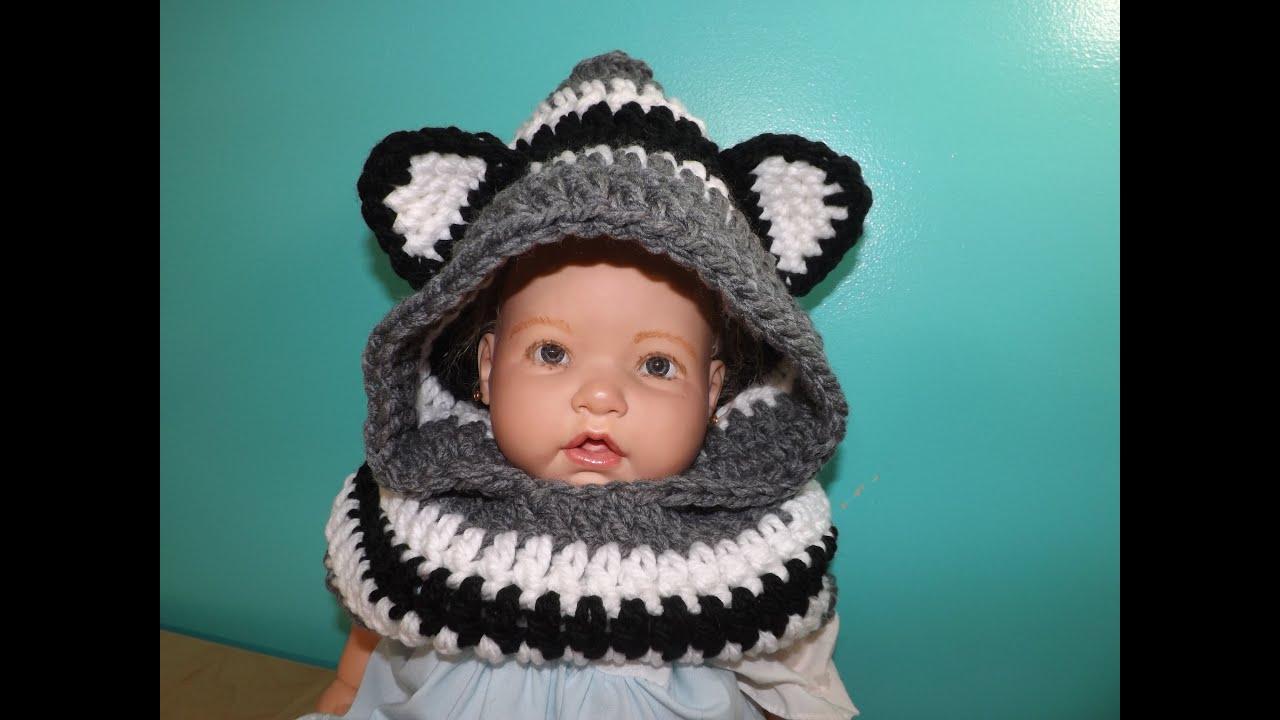 Crochet bufanda con Capucha Y Orejas Para Bebe\' Hasta Adulto - YouTube