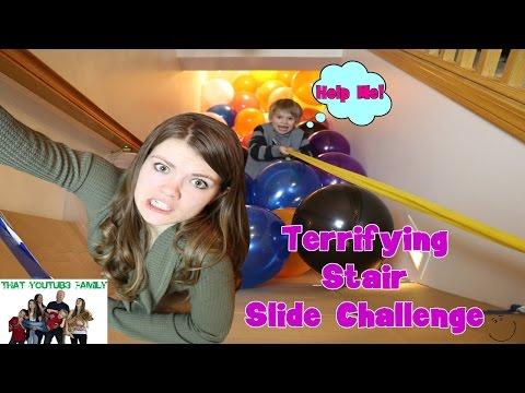 Terrifying Stair Slide Challenge / That YouTub3 Family