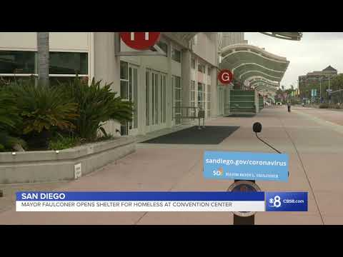 Mayor Faulconer Announces San Diego Convention Center Opens As Temporary Shelter For Homeless