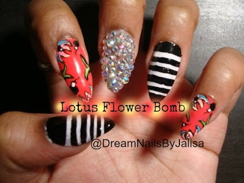 Lotus Flower Bomb Nail Art | DreamNailsByJalisa - YouTube