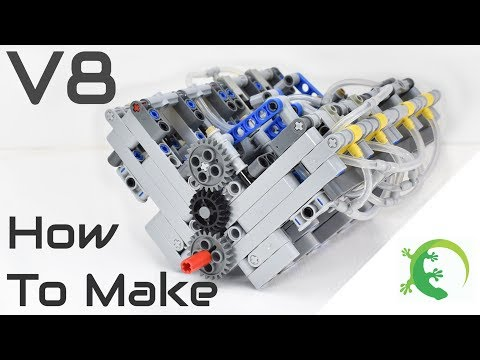 How To Make LEGO Technic V8 Pneumatic Engine - LPE MOC - With Parts list