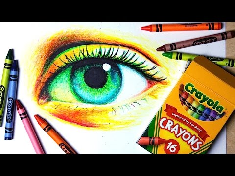cheap art supply challenge drawing a realistic eye with crayons