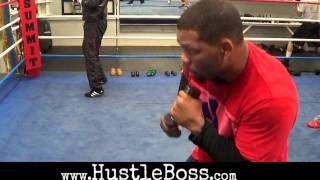Heavyweight Mike Perez (19-0, 12 KO's) training at the Summit Gym for HBO clash with Magomed