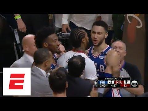 Philadelphia 76ers, Miami Heat exchange shoves during Game 4 of NBA Playoffs | ESPN
