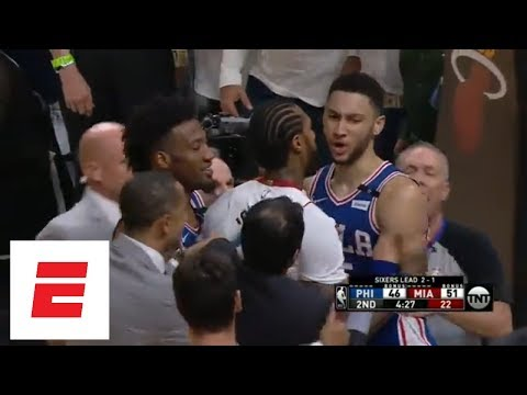 Philadelphia 76ers, Miami Heat exchange shoves during Game 4 of NBA Playoffs | ESPN