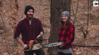 Couple Uses Chainsaw to Cut Down Rotting Tree In Artsy Lumberjack Gender Reveal