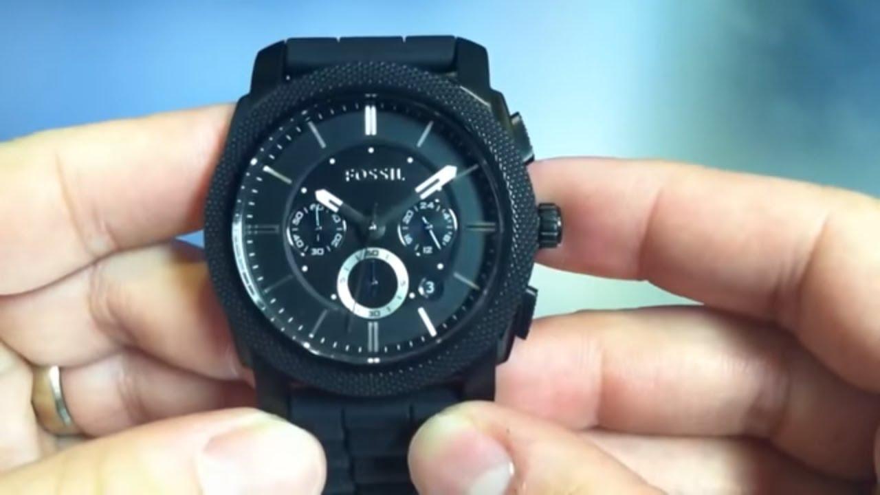 men s black fossil chronograph watch fs4487