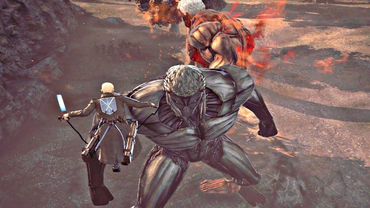 ATTACK ON TITAN 2 - Armored Titan vs Black Armored Titan Boss Fight (PS4  Pro)