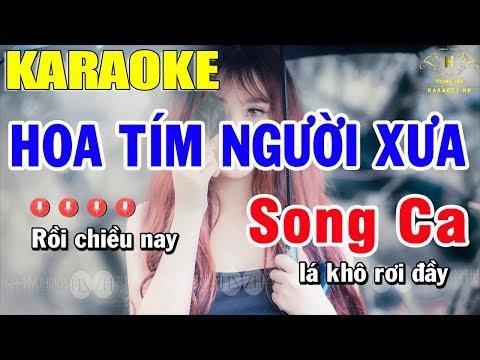 Karaoke Hoa Tím Người Xưa Song Ca Nhạc Sống | Trọng Hiếu