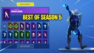 GALAXY SKIN WITH BEST OF SEASON 5 EMOTES! (Fortnite: Battle Royale)