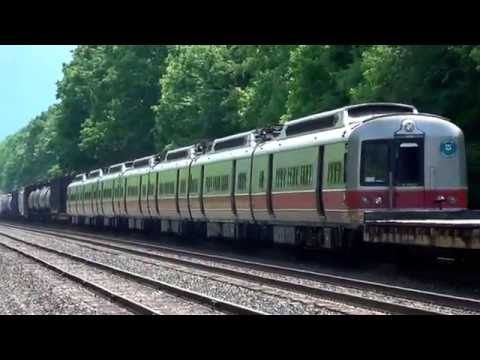Old Transit Cars on CSX Freight Train