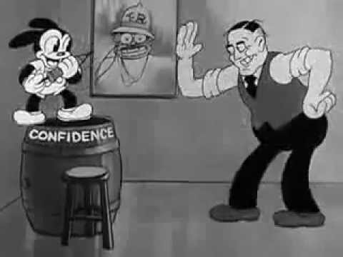 CONFIDENCE - 1933 Cartoon, with Oswald the Rabbit and President Franklin Roosevelt