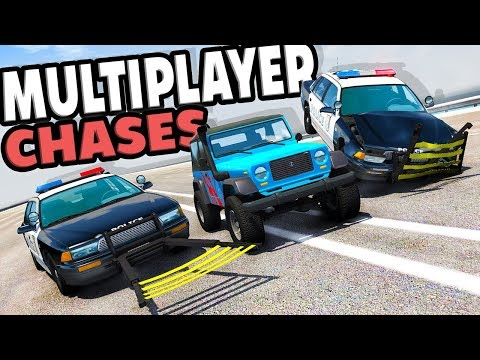 MULTIPLAYER POLICE CHASES AND WHEEL GRABBER TAKEDOWNS! – BeamNG Multiplayer Pursuits w/Draegast