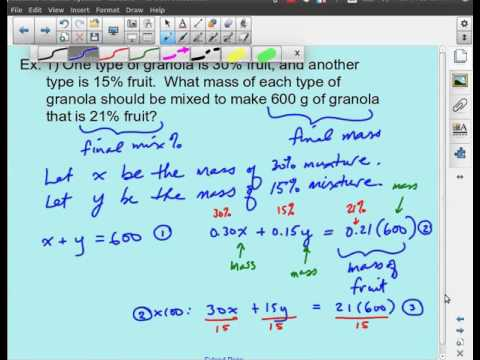 MPM2D - Linear Systems - Mixture & Percent Word Problems
