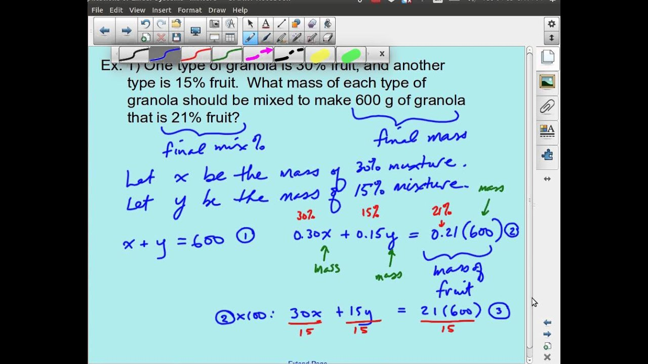 MPM2D - Linear Systems - Mixture & Percent Word Problems - YouTube