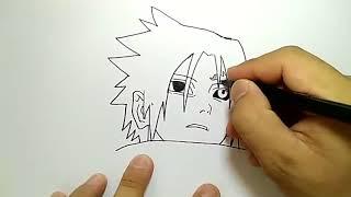 Coretan tinta belajar menggambar sasuke komik naruto