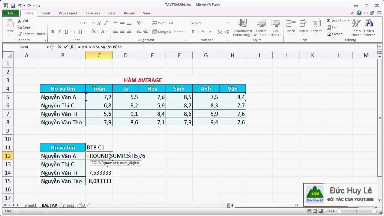Cách tính trung bình cộng trong Excel – Hàm AVERAGE