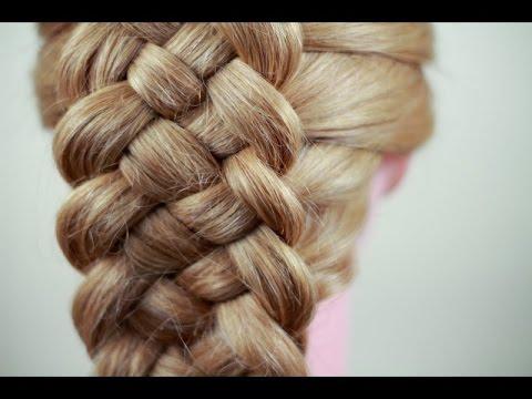 Как плести косу из четырех прядей видео
