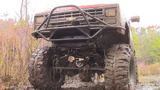 Chevy Mud Truck Beat Down - V8 Chevrolet Pickup on Boggers Mudding, Pulling + Getting Thrashed