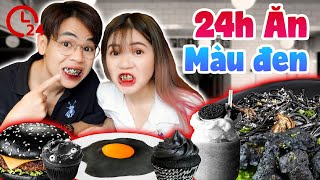 24H ULTIMATE BLACK COLOR EATING | BURGER, RICE, RICE, BLACK CHICKEN | EATING BLACK FOOD | SUNNY TRUONG