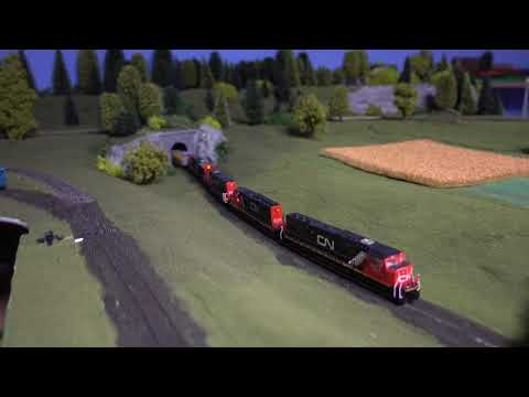N scale Layout visit: Canadian National CN  grain train on the Lozip Mountain Railroad