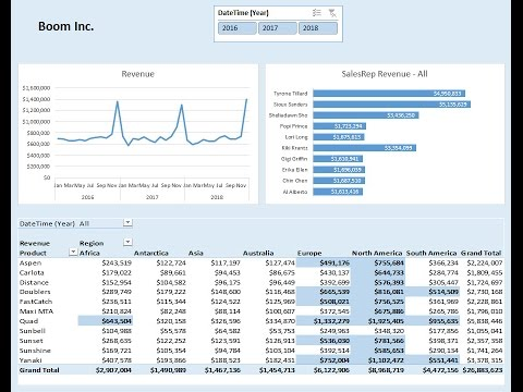 Highline Excel 2016 Class 17: How to Build Excel Dashboard PivotTable, Chart, Conditional Formatting