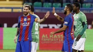 Fc barcelona treated the al-gharafa stadium in qatar to a fine display of attacking football on tuesday as they defeated saudi arabia 5-3 friendly ma...