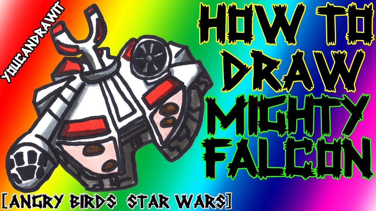 How To Draw Mighty Falcon From Angry Birds Star Wars