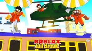 ROBLOX - JAIL BREAK - ROBBING THE TRAIN FROM A HELICOPTER!!