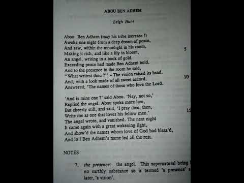 ABou BEN ADHEM  FOR SINDH BOARD