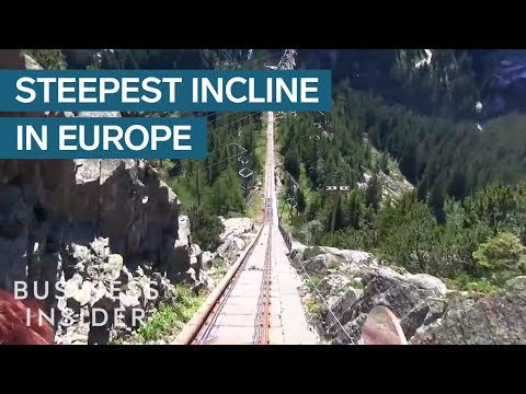 The steepest funicular railway in Europe has a 106% incline
