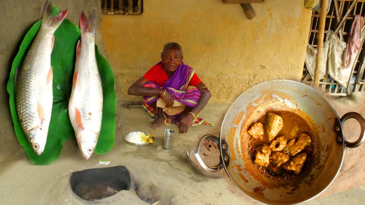 Small fish curry | Tribal grandmother cooking village style small local bata fish curry