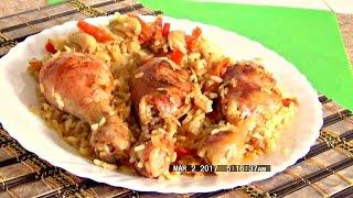 Ленивые запечённые куриные голени с рисом легко и просто